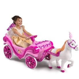 Disney Princess Royal Horse and Carriage Girls' Ride-On Toy, Pink, 6V