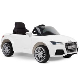 Audi TT S Roadster Battery Ride-On Car for Kids, White, 12V
